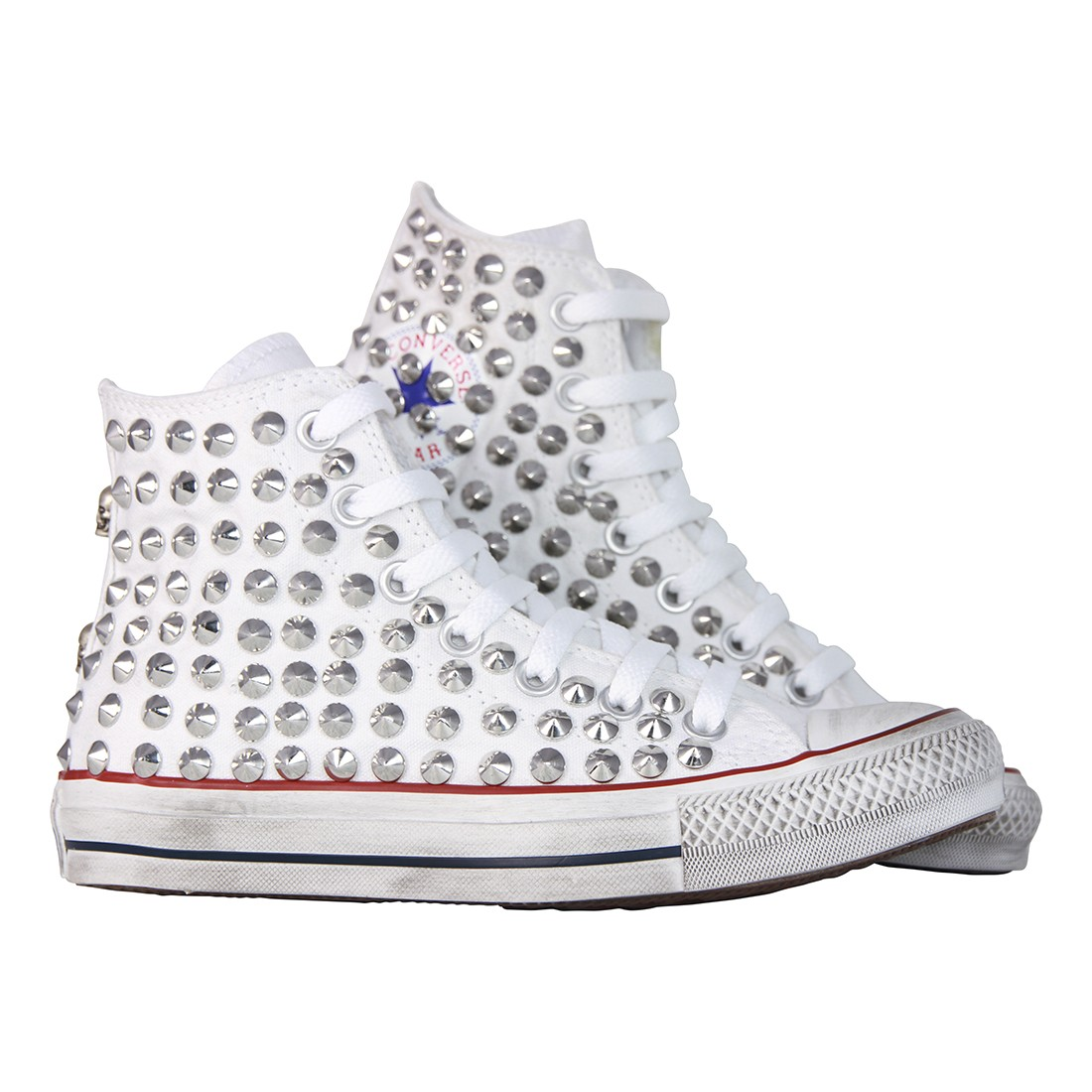 converse all star bianche con borchie