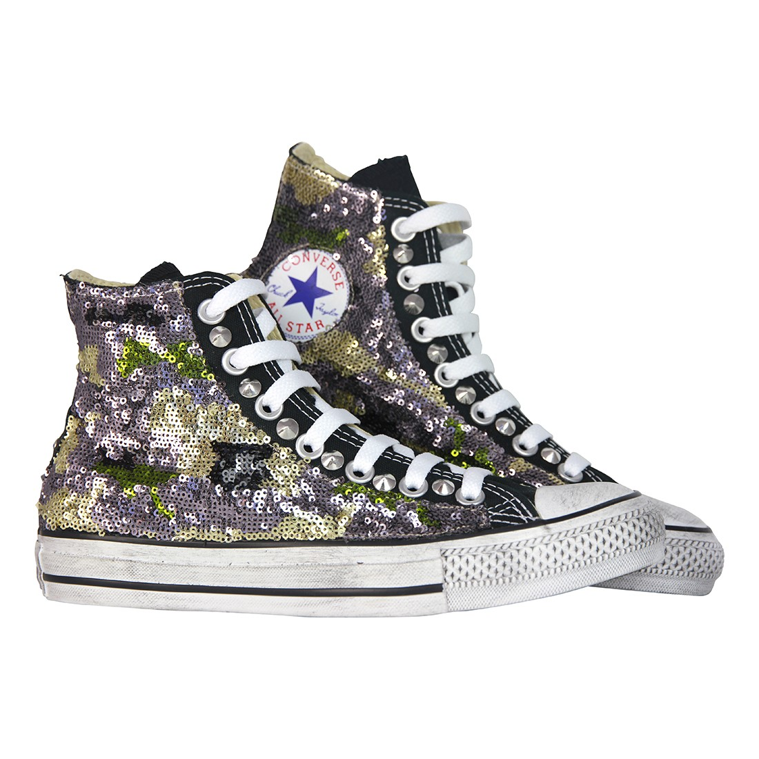 converse nere personalizzate con paillettes. Black Bedroom Furniture Sets. Home Design Ideas